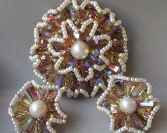 Vintage VENDOME Amber Aurora Borealis Crystal & Faux Pearl FLOWER Pin, Earrings Set - Book Piece!
