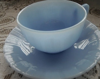 Pyrex Blue Delphite Teacup Tea Cup and Saucer, Pie Crust Pattern, 5 sets available,1940s Kitchenware  for Your Country Kitchen