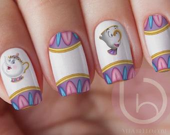 Nail art etsy mrs potts and chips waterslide nail decal nail design nails press on prinsesfo Images