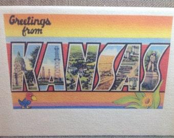Kansas Kithchen Towel With Vintage State Postcard Design