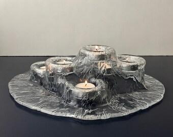 vintage Meri Lasi Volcano tea light holder 6  Finland art glass Pertti Kallioien glass centerpiece