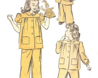 Advance 3448 Girl's Vintage 1940s Top and Pants Pajamas Sewing Pattern