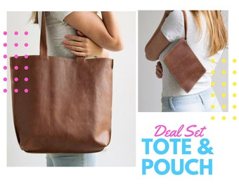 Deal SET - Leather Tote & Leather Wristlet Pouch/ Coin Purse/ Card Holder/ Sunglasses Case/ Personalized Tag, Zipper Tote Bag, Shoulder Bag