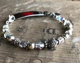 Sterling Silver & Crystal Medical Bracelet - Includes FREE Medical ID tag with Engraving Diabetes Medication Allergy Alert