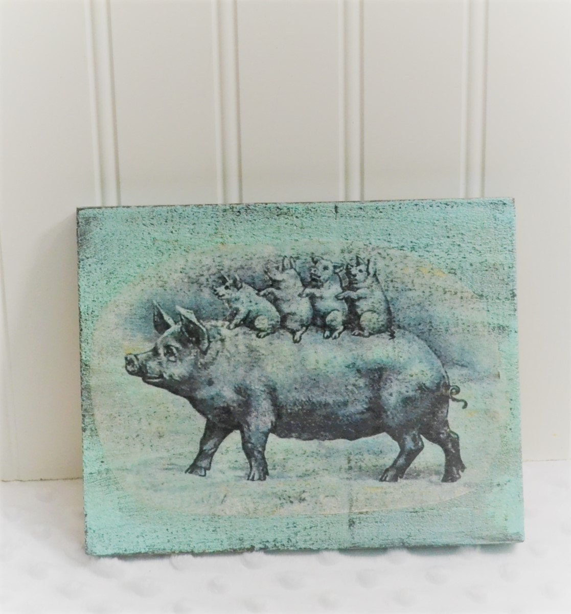 Rustic Farmhouse Wooden Pig Sign Home Decor