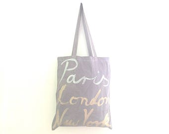 READY to SHIP TOTE New York London Paris Shoulder Eco Tote Bag / Eve Damon