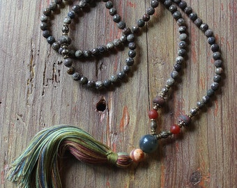 Beautiful faceted jasper gemstone mala necklace
