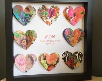 Paper Heart, 3D Paper Art, perfect for a Mothers Day, wedding or anniversary, customize with your colors and inscription.