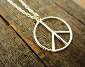 Sterling Silver Peace Sign Pendant Necklace - Solid Sterling Silver Peace Pendant and Chain