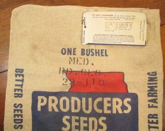 Vintage Seed Sack with Tag, Producers Seeds, Decatur, Illinois, Piper City, Ill., Canvas Grain Sack