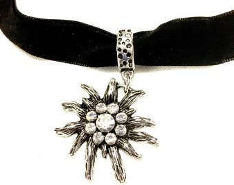 Gothic velvet choker sun solar diamonte jewels silver goth black neck neckline accessory teenager steampunk faux
