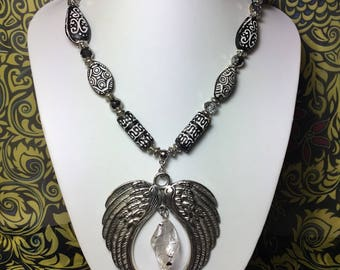 Black and White Ethnic African Tribal Necklace.