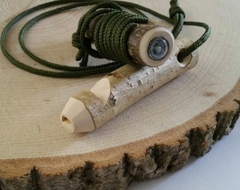Wooden whistle with integral mini compass, wood whistle, woodland whistle, wedding, groom gift, compass, outdoors, adventure