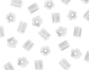 2.0mm Flower Petal Ridge Style Clear Rubber Earring Backs Bulk Ear Wire Guards Nuts Stoppers Backings Replacement Jewelry Making Supplies