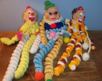 Set of 3 Vintage Clown Macrame Dolls Circus Puppets Handmade Display Crochet
