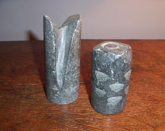 Pair of Heavy Vintage Carved Stone Art Pieces Tribal Statues