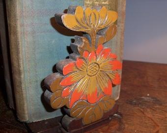 Vintage Wooden Japan Handmade Bookends Folding Orange Floral