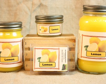 Lemon Scented Candle, Lemon Scented Wax Tarts, 26 oz, 12 oz, 4 oz Jar Candles or 3.5 Clam Shell Wax Melts