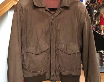 1990's Vintage Brown Leather Bomber Jacket Men's large