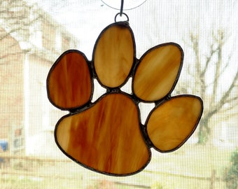 Stained Glass Paw Suncatcher - Animal Paw - Paw Print - Pet Memorial Gift - Dog Gift - Dog Paw - Pet Lover Gift - Cat Paw - Brown