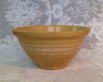 Reserved for Linda Antique yellow ware pottery mixing bowl stoneware primitive French country cottage farmhouse shabby chic kitchen bakeware