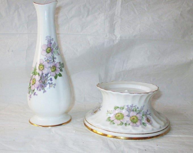 Royal Tara Fine Bone China IRISH BLOSSOM Bud Vase & Candleholder, Pink Purple Flowers, Galway, Ireland (c. 1970s)