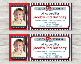 Train Ticket Birthday Invitations - Digital File