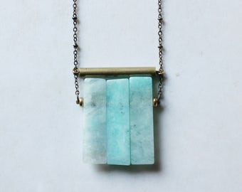 Amazonite necklace gold Amazonite pendant long statement necklace brass tube geometric necklace mint blue gemstone modern minimalist jewelry