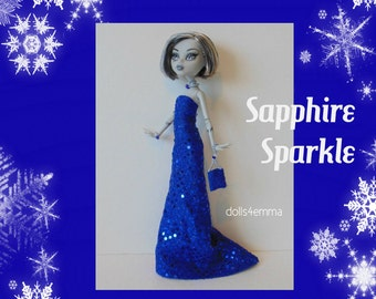 Monster High Doll Clothes - Sapphire Sparkle GOWN, PURSE & Jewelry - Handmade Fashion by dolls4emma