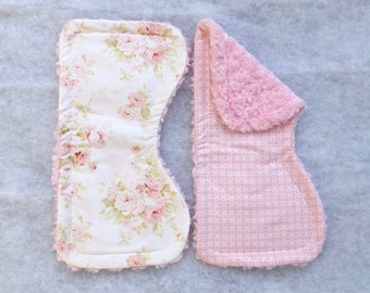 Set of 2 Pink Shabby Chic Floral and Pink Geometric Baby Burp Cloth -- Floral Burp Cloth -- Pink BurpCloth -- Made-to-Order