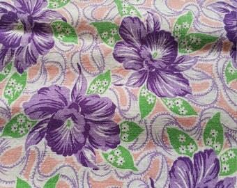 Vintage FULL Unopened Feed Sack Feedsack Fabric Material Purple Flowers  BEAUTIFUL
