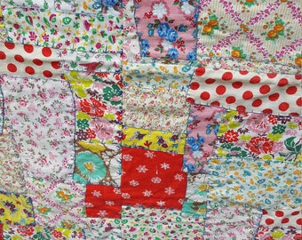 Vintage Feedsack Quilt Top Crazy Quilt AMAZING