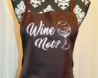 Apron- Wine Not? (Brown/Pink)