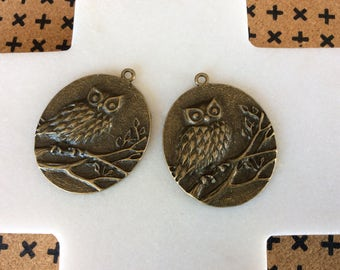 Antique Bronze Carved Owl Pendant
