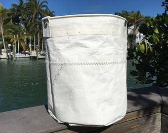 XLG Sail Storage tote from Recycled Sail Cloth, Bucket Bag, one-of-a-kind