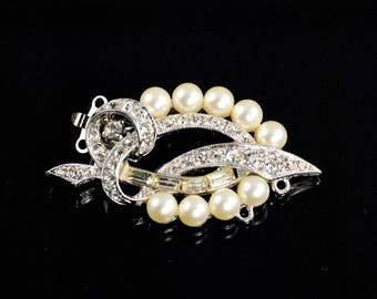 Vintage Pearl and Rhinestone Clasp-Marvella Clasp-Art Deco Clasp-Pearl and Rhinestone Marvella Clasp-New Old Stock (NOS)-Vintage Clasp