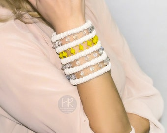 "Exclusive Bracelet wallet ""Secret"" beige and yellow . Bracelet wallet for money on the wrist . Bracelet handmade for cash . Wrist Wallet"
