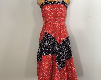 Vintage 70s Red and Blue Floral Cotton Bohemian Summer Sundress Midi Dress S
