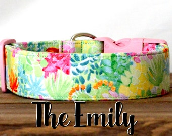 "Celery Green, Light Pink, & Blue Bright Vintage Inspired Floral Dog Collar ""The Emily"""