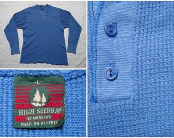Vintage Retro Men's 90's High Sierra Thermal Henley Blue Long Sleeve Shirt Large Made in the USA