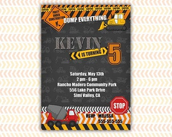 CONSTRUCTION PARTY Invitation Printable