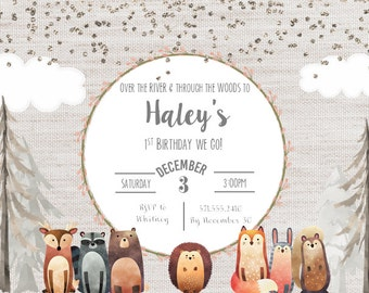 Woodland Girl Birthday Invitation Digital File ONLY