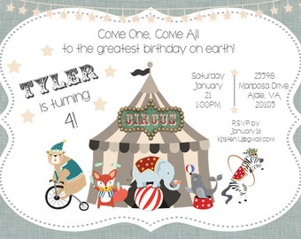 Circus Birthday Invitation Digital File ONLY
