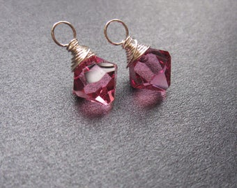 ROSE Swarovski Crystal BICONE drops, Interchangeable earrings and necklace pendant