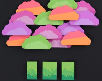 Neon Clouds Layered Paper Art
