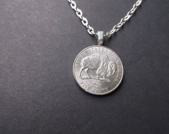 United States Five Cent Buffalo Coin Necklace - Coin Necklace - US Five Cent Buffalo Coin Pendant