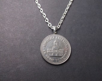 Argentina Coin Necklace -Republic of Argentina  Coin Pendant with Bail and Chain-