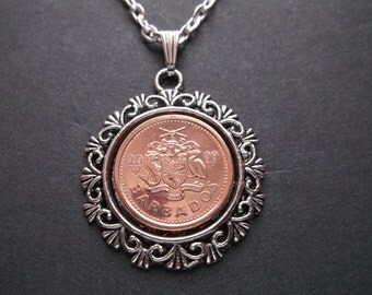 Barbados Copper Colored Coin Necklace in Pendant Tray- Barbados 2009 Coin Pendant with Chain