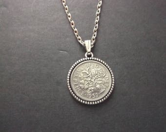 British Sixpence Coin Necklace -  British SixPence Coin Pendant in Pendant Tray- 1959 British Six Pence Coin Necklace