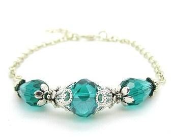Emerald Bridesmaid Bracelet, Dark Green Bridesmaid Jewellery, Emerald Wedding Set, Crystal Bridal Bracelet Bridal Party Gift Bridesmaid Sets